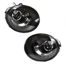 Par de Faros con Fondo Negro, Lupa y Luz Led Auto Magic para New Beetle