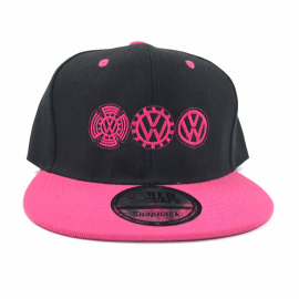 Gorra Escudos VW Rosas (Negra, Vicera Rosa)