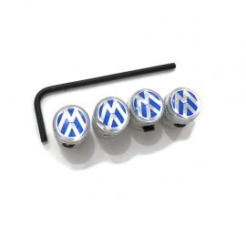 "Juego de Tapones de Válvula ""VW"" Azules con Seguro Antirrobo"
