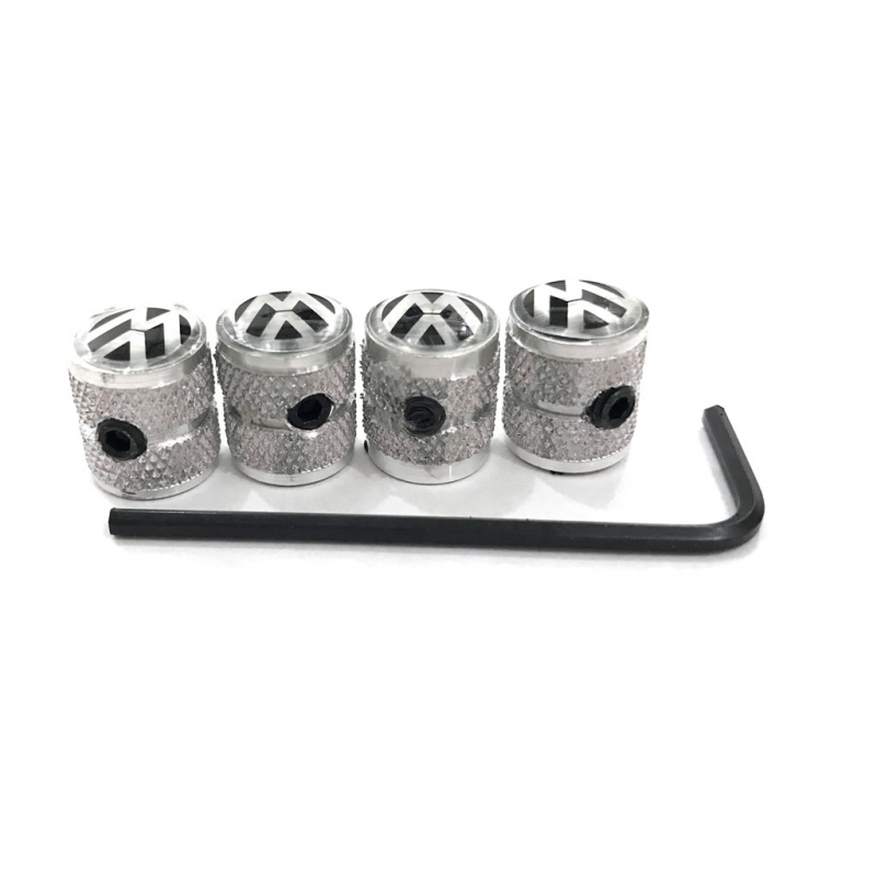 Juego de 4 tapones antirrobo de aluminio para v/álvula de aire de neum/ático de coche