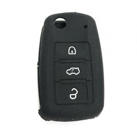 Funda de Silicón Protectora de Llave Retráctil Inteligente Color NEGRO para Vehículos Volkswagen, Seat y Audi.