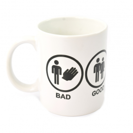 "Taza Blanca ""BAD-GOOD-GREAT-PERFECT"""