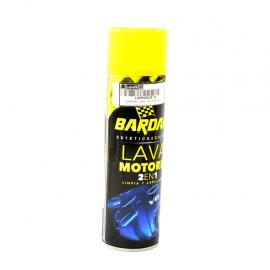 Limpiador y abrillantador BARDAHL en aerosol para motores.