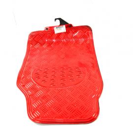 Juego de tapetes UNIVERSALES de estilo metálico color Rojo para coches y camionetas
