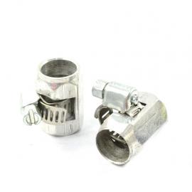 Par de abrazaderas sinfín con funda de aluminio para mangueras de gasolina.