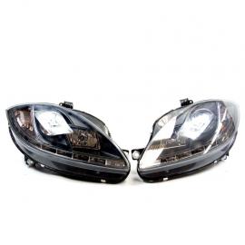 Juego de faros Principales con fondo Negro, Ojo de Ángel y perfil LED para León Mk2