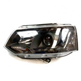 Juego de faros Principales con fondo Negro, Ojo de Ángel y perfil LED para Transporter
