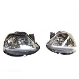 Juego de faros con fondo Negro, Ojo de angel y perfil LED para Ibiza Mk4