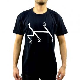 Camiseta negra Talla Mediana con estampado Cambio de velocidades