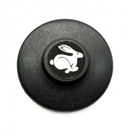 Juego de 4 Tapones Negros de Centro de Rueda con Emblema de Rabbit para Atlantic, Caribe