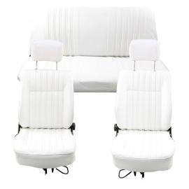 Juego de asientos ORIGINALES RECONSTRUIDOS con Vestiduras Blancas para V.W. Sedan
