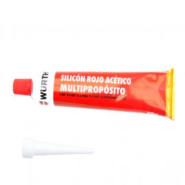 Tubo de Silicón Acético WURTH Color Rojo de Uso Automotriz para Formar Juntas