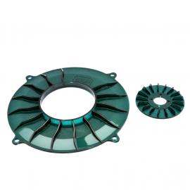 Rehilete de Polea de Alternador y Comal de Tolva de Turbina color Verde para VW Sedan, Combi 1500, 1600, Brasilia, Safari