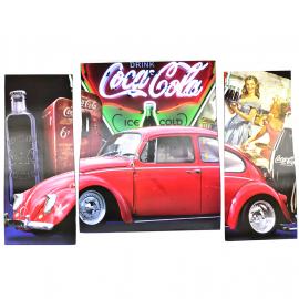 Cuadro Decorativo en Tres Partes con la Imagen de VW Sedan Rojo Tamaño Grande