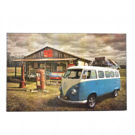 Cuadro Decorativo con la Imagen de Combi 1200 en Estación de Servicio Tamaño Extra Grande