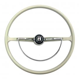 Volante de Dirección Color Crema con Emblema Central WOLFSBURG para VW Sedan 1200, 1500