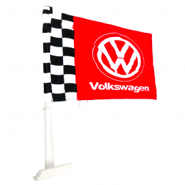 Bandera con Soporte de Ventana Volkswagen color Rojo