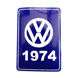 Calcomanía VW Generación 1974 Color Azul para VW Sedan 1600, Combi, Safari, Brasilia