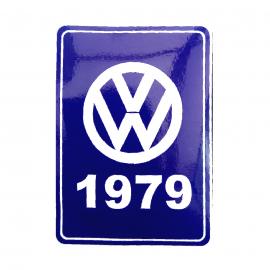 Calcomanía VW Generación 1979 Color Azul para VW Sedan 1600, Combi, Safari, Brasilia, Caribe