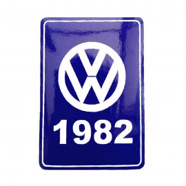 Calcomanía VW Generación 1982 Color Azul para VW Sedan 1600, Combi, Safari, Brasilia, Atlantic, Caribe