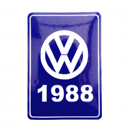 Calcomanía VW Generación 1988 Color Azul para VW Sedan 1600, Combi, Corsar, Golf A2, Jetta A2