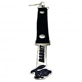 Llavero con Cinta Color Negro y Emblema RABBIT