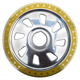 Polea de Cigüeñal Cromada y Graduada Color Amarillo IAP para VW Sedan, Combi, Brasilia, Safari, Hormiga