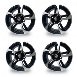Juego de Rines Tipo Phantom de 15 Pulgadas Color Negro Auto Magic para VW Sedan