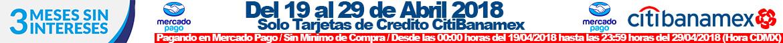 Solo con Mercadopago, compra hoy y paga a 3 Meses sin Intereses con tu tarjeta de crédito CitiBanamex!