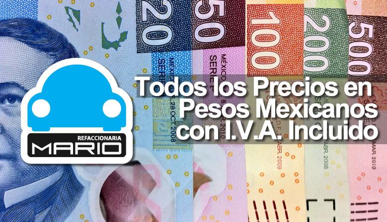 Todos nuestros precios estan en pesos mexicanos MXN
